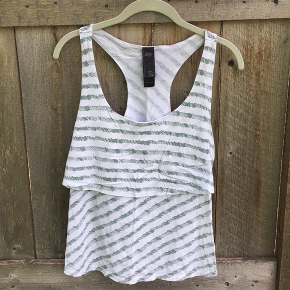 Lost Tops - Lost green/white racerback tank top large
